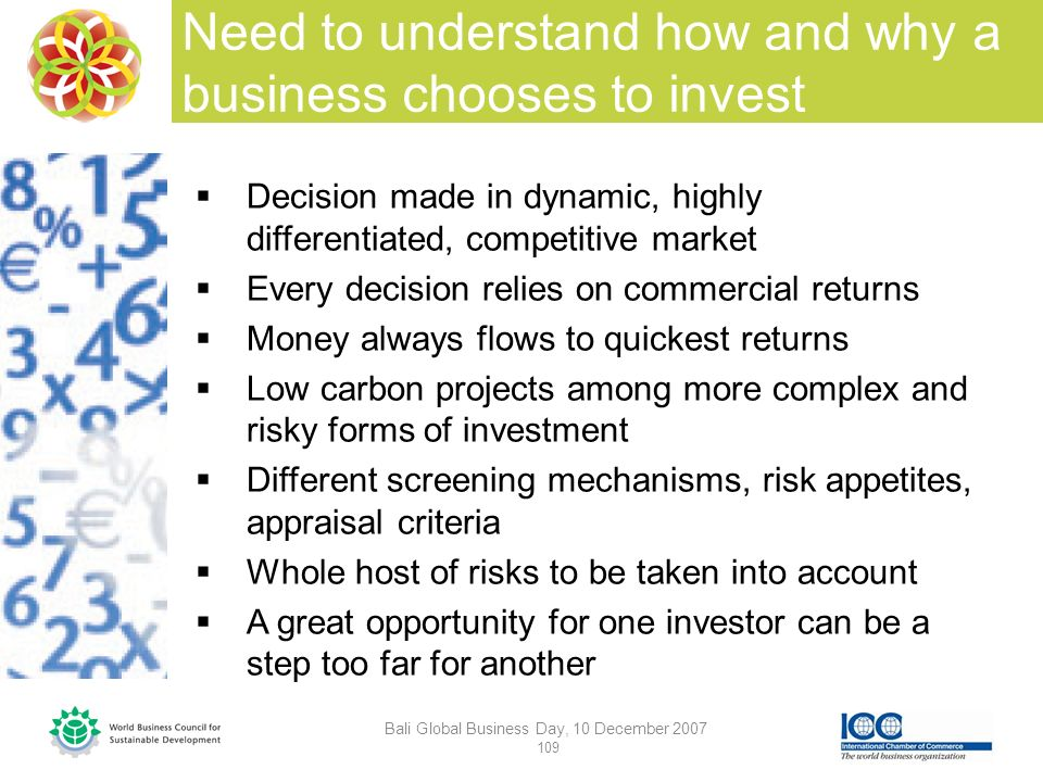 Need to understand how and why a business chooses to invest Bali Global Business Day, 10 December 2007 109 Decision made in dynamic, highly differentiated, competitive market Every decision relies on commercial returns Money always flows to quickest returns Low carbon projects among more complex and risky forms of investment Different screening mechanisms, risk appetites, appraisal criteria Whole host of risks to be taken into account A great opportunity for one investor can be a step too far for another