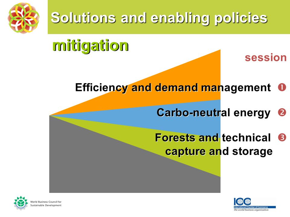 Solutions and enabling policies mitigation mitigation session Efficiency and demand management Carbo-neutral energy Forests and technical capture and storage