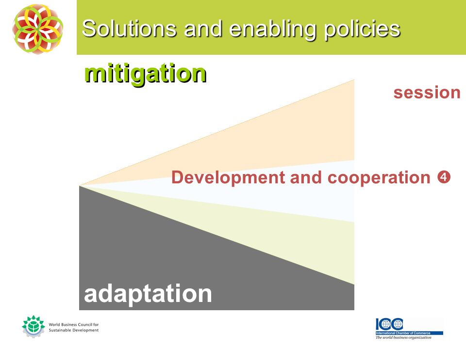 Solutions and enabling policies mitigation session Development and cooperation adaptation