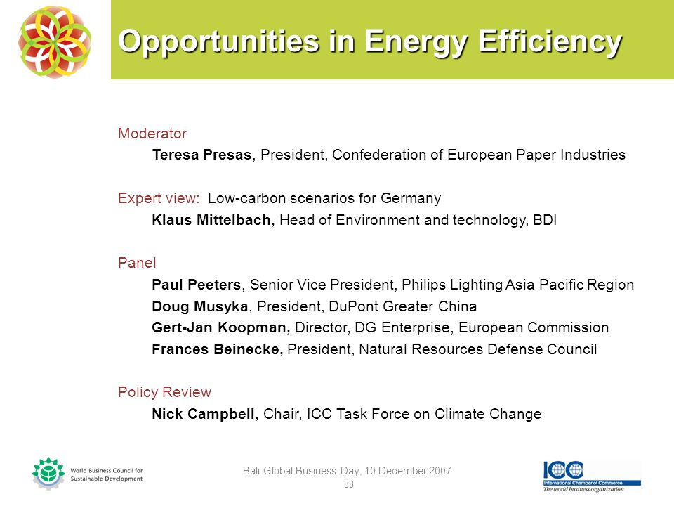 Opportunities in Energy Efficiency Moderator Teresa Presas, President, Confederation of European Paper Industries Expert view: Low-carbon scenarios for Germany Klaus Mittelbach, Head of Environment and technology, BDI Panel Paul Peeters, Senior Vice President, Philips Lighting Asia Pacific Region Doug Musyka, President, DuPont Greater China Gert-Jan Koopman, Director, DG Enterprise, European Commission Frances Beinecke, President, Natural Resources Defense Council Policy Review Nick Campbell, Chair, ICC Task Force on Climate Change Bali Global Business Day, 10 December 2007 38
