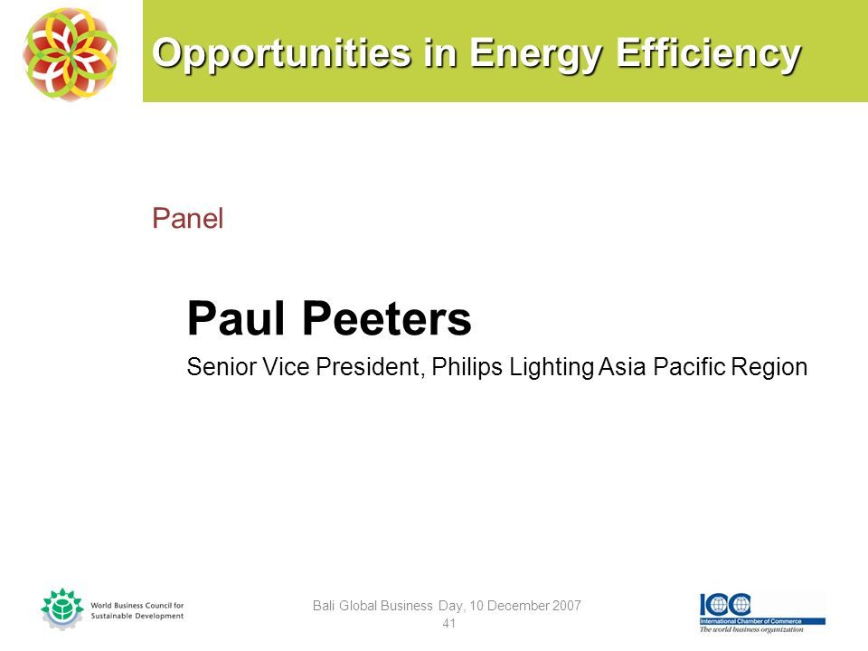 Opportunities in Energy Efficiency Panel Paul Peeters Senior Vice President, Philips Lighting Asia Pacific Region Bali Global Business Day, 10 December 2007 41