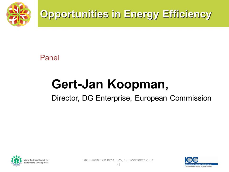 Opportunities in Energy Efficiency Panel Gert-Jan Koopman, Director, DG Enterprise, European Commission Bali Global Business Day, 10 December 2007 44