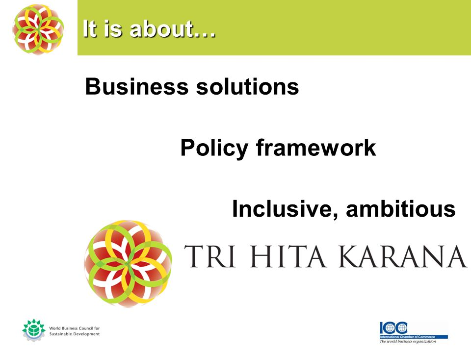 It is about… Business solutions Policy framework Inclusive, ambitious