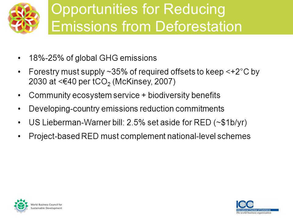 18%-25% of global GHG emissions Forestry must supply ~35% of required offsets to keep <+2°C by 2030 at <40 per tCO 2 (McKinsey, 2007) Community ecosystem service + biodiversity benefits Developing-country emissions reduction commitments US Lieberman-Warner bill: 2.5% set aside for RED (~$1b/yr) Project-based RED must complement national-level schemes Opportunities for Reducing Emissions from Deforestation