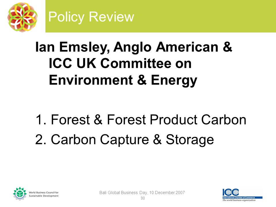Policy Review Ian Emsley, Anglo American & ICC UK Committee on Environment & Energy 1.Forest & Forest Product Carbon 2.Carbon Capture & Storage Bali Global Business Day, 10 December 2007 90