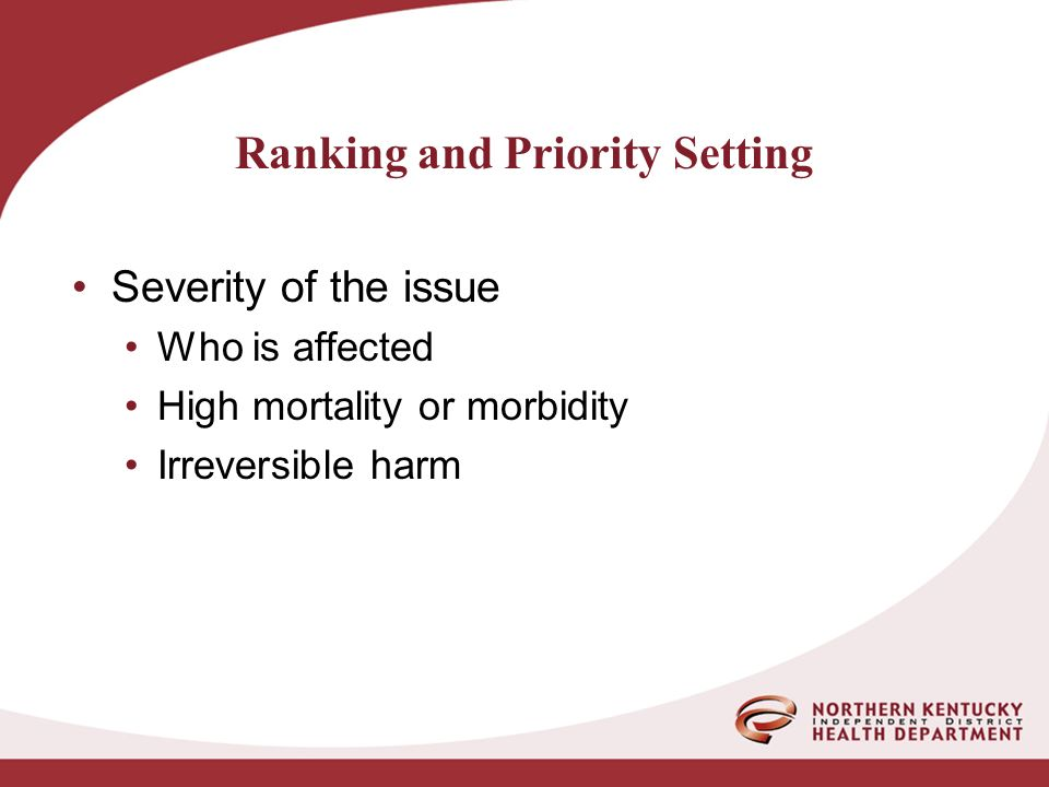 Severity of the issue Who is affected High mortality or morbidity Irreversible harm