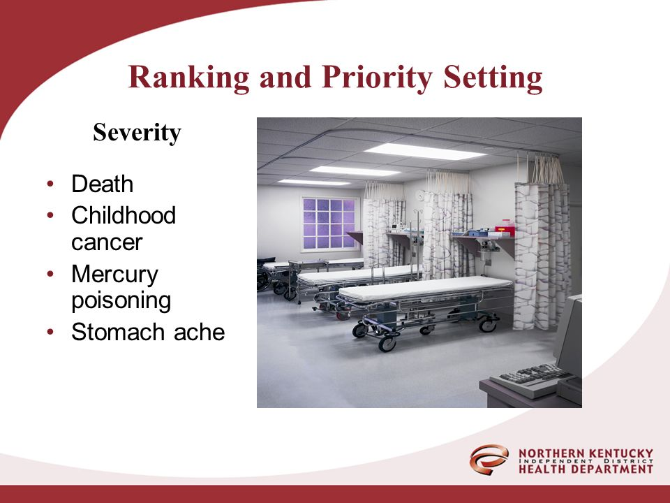 Ranking and Priority Setting Death Childhood cancer Mercury poisoning Stomach ache Severity