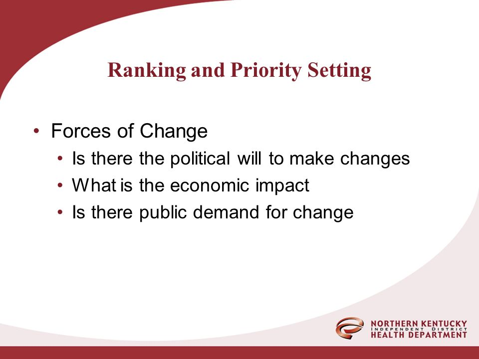 Ranking and Priority Setting Forces of Change Is there the political will to make changes What is the economic impact Is there public demand for change