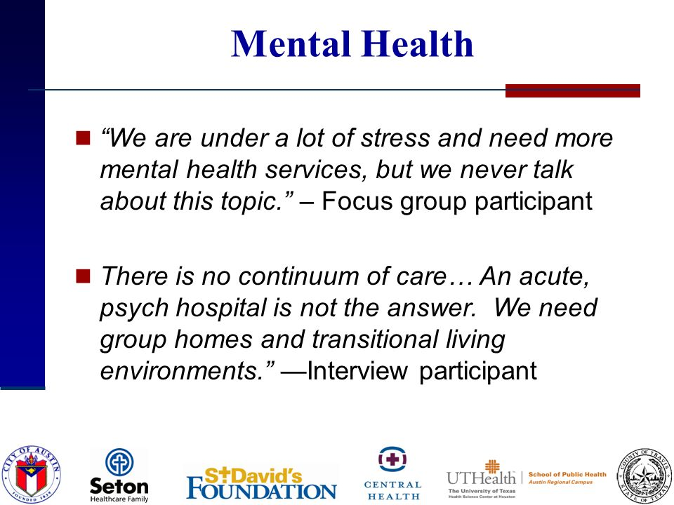 Mental Health We are under a lot of stress and need more mental health services, but we never talk about this topic.