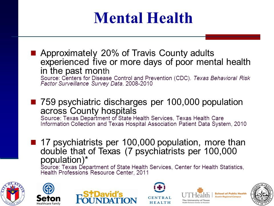 Mental Health Approximately 20% of Travis County adults experienced five or more days of poor mental health in the past mon th Source: Centers for Disease Control and Prevention (CDC).