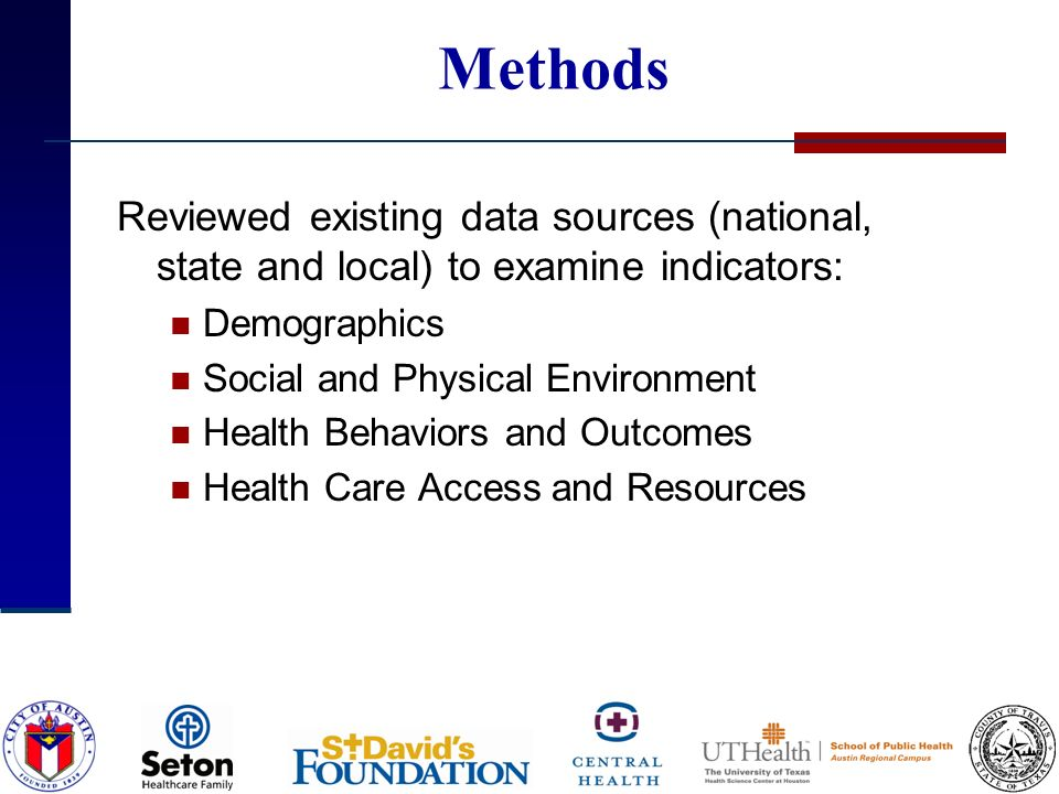 Methods Reviewed existing data sources (national, state and local) to examine indicators: Demographics Social and Physical Environment Health Behaviors and Outcomes Health Care Access and Resources