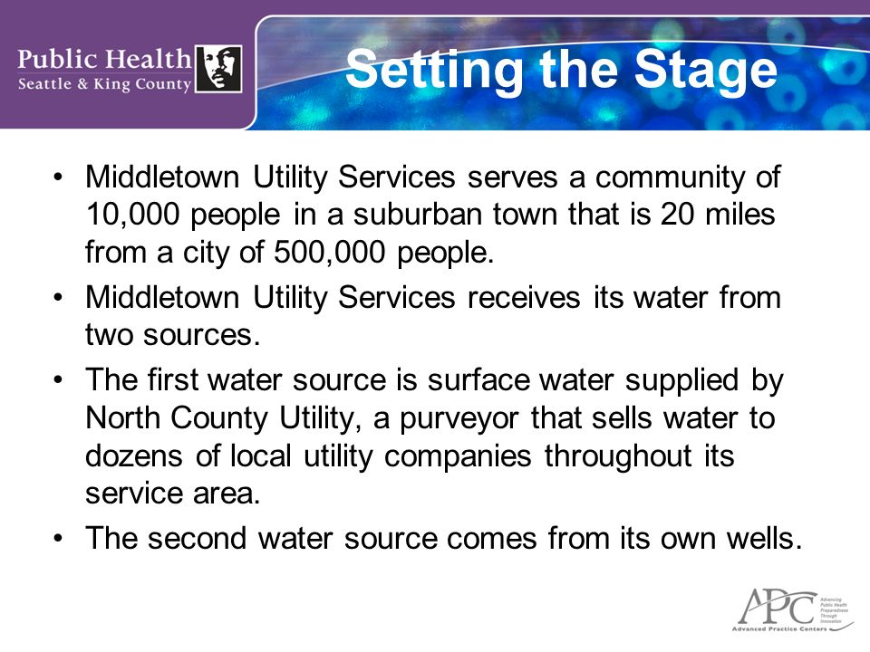 Setting the Stage Middletown Utility Services serves a community of 10,000 people in a suburban town that is 20 miles from a city of 500,000 people.