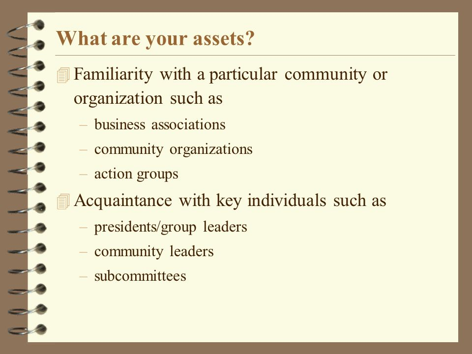 What are your assets.