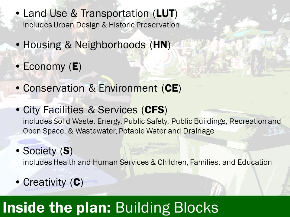Land Use & Transportation (LUT) includes Urban Design & Historic Preservation Housing & Neighborhoods (HN) Economy (E) Conservation & Environment (CE) City Facilities & Services (CFS) includes Solid Waste, Energy, Public Safety, Public Buildings, Recreation and Open Space, & Wastewater, Potable Water and Drainage Society (S) includes Health and Human Services & Children, Families, and Education Creativity (C) Inside the plan: Building Blocks