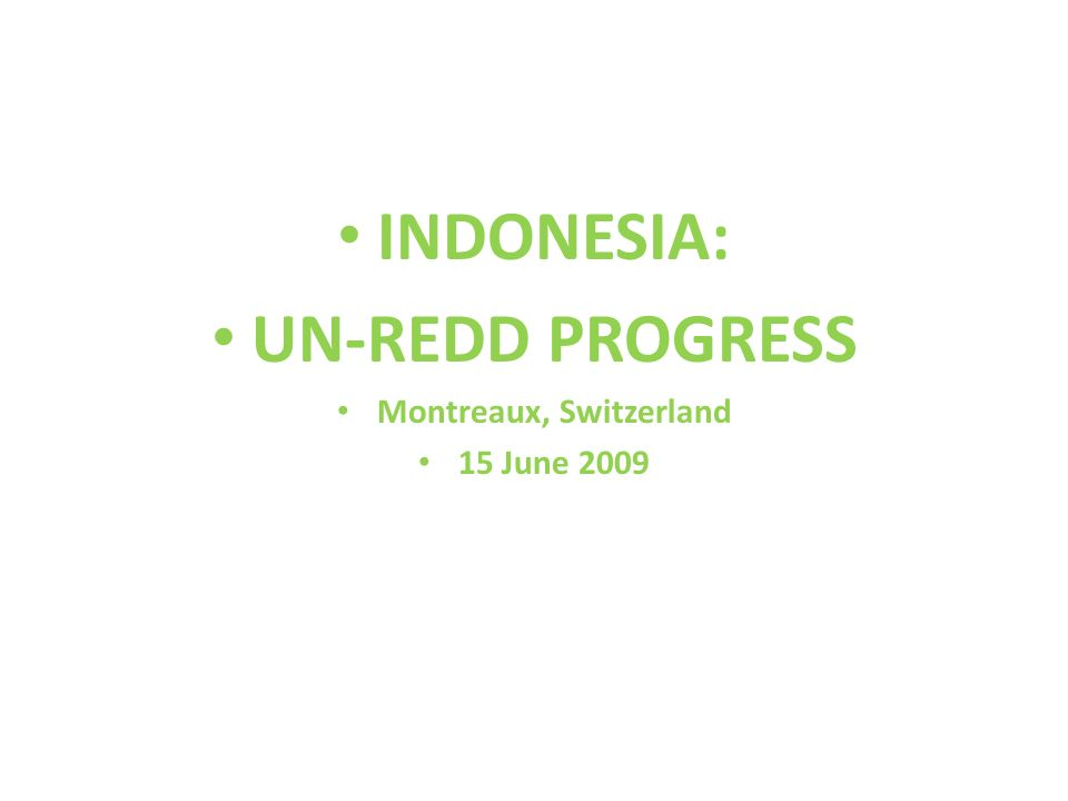 INDONESIA: UN-REDD PROGRESS Montreaux, Switzerland 15 June 2009