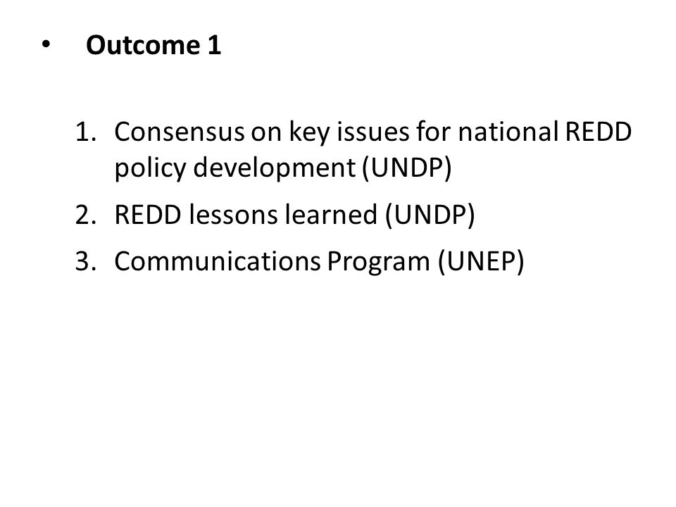 Outcome 1 1.Consensus on key issues for national REDD policy development (UNDP) 2.REDD lessons learned (UNDP) 3.Communications Program (UNEP)