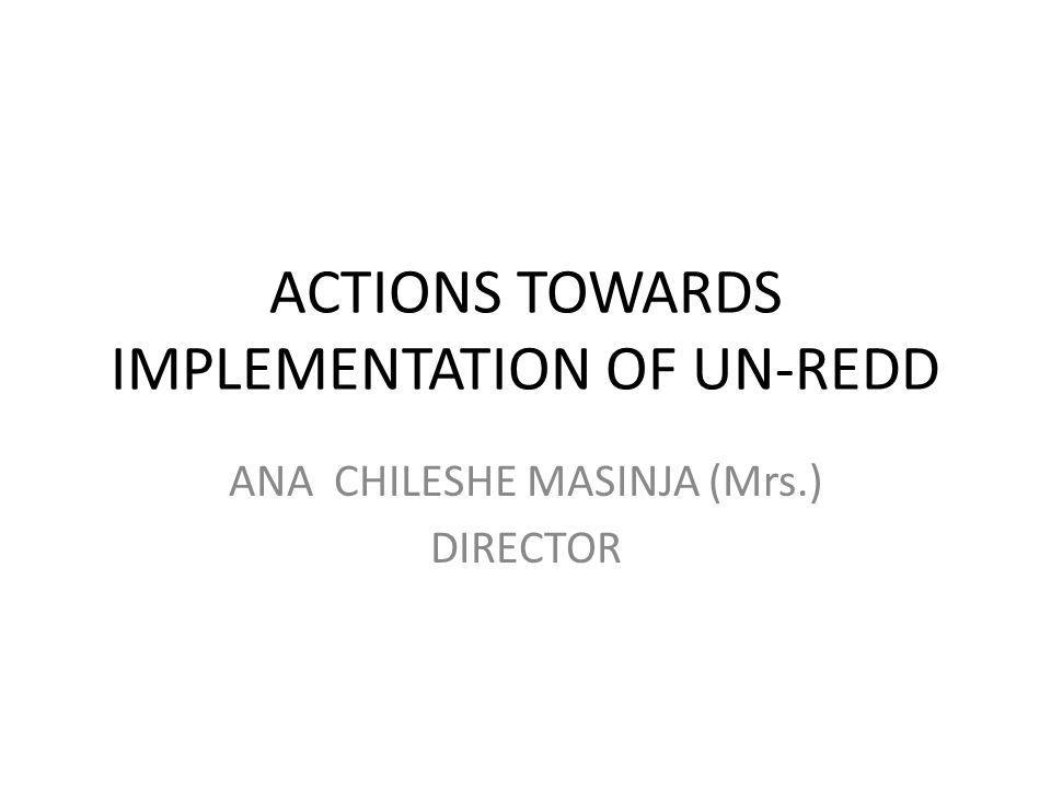 ACTIONS TOWARDS IMPLEMENTATION OF UN-REDD ANA CHILESHE MASINJA (Mrs.) DIRECTOR
