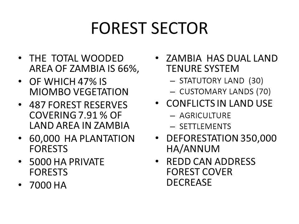 FOREST SECTOR THE TOTAL WOODED AREA OF ZAMBIA IS 66%, OF WHICH 47% IS MIOMBO VEGETATION 487 FOREST RESERVES COVERING 7.91 % OF LAND AREA IN ZAMBIA 60,000 HA PLANTATION FORESTS 5000 HA PRIVATE FORESTS 7000 HA ZAMBIA HAS DUAL LAND TENURE SYSTEM – STATUTORY LAND (30) – CUSTOMARY LANDS (70) CONFLICTS IN LAND USE – AGRICULTURE – SETTLEMENTS DEFORESTATION 350,000 HA/ANNUM REDD CAN ADDRESS FOREST COVER DECREASE