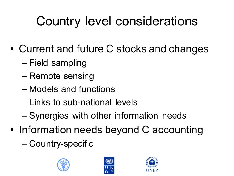 Country level considerations Current and future C stocks and changes –Field sampling –Remote sensing –Models and functions –Links to sub-national levels –Synergies with other information needs Information needs beyond C accounting –Country-specific