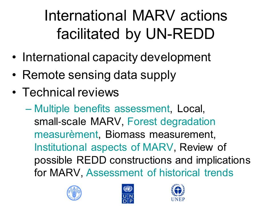 International MARV actions facilitated by UN-REDD International capacity development Remote sensing data supply Technical reviews –Multiple benefits assessment, Local, small scale MARV, Forest degradation measurèment, Biomass measurement, Institutional aspects of MARV, Review of possible REDD constructions and implications for MARV, Assessment of historical trends