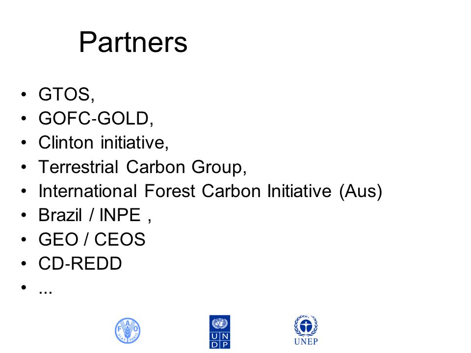Partners GTOS, GOFC GOLD, Clinton initiative, Terrestrial Carbon Group, International Forest Carbon Initiative (Aus) Brazil / INPE, GEO / CEOS CD REDD...