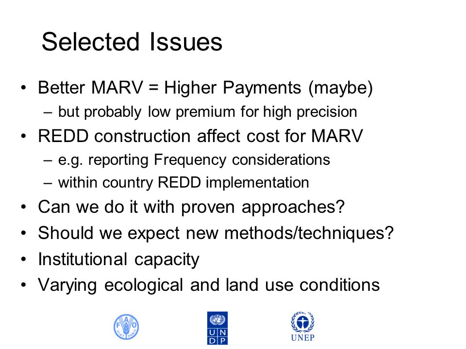 Selected Issues Better MARV = Higher Payments (maybe) –but probably low premium for high precision REDD construction affect cost for MARV –e.g.