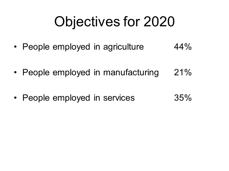 Objectives for 2020 People employed in agriculture 44% People employed in manufacturing 21% People employed in services 35%