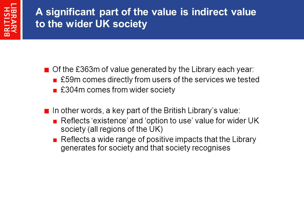 Of the £363m of value generated by the Library each year: £59m comes directly from users of the services we tested £304m comes from wider society In other words, a key part of the British Librarys value: Reflects existence and option to use value for wider UK society (all regions of the UK) Reflects a wide range of positive impacts that the Library generates for society and that society recognises A significant part of the value is indirect value to the wider UK society