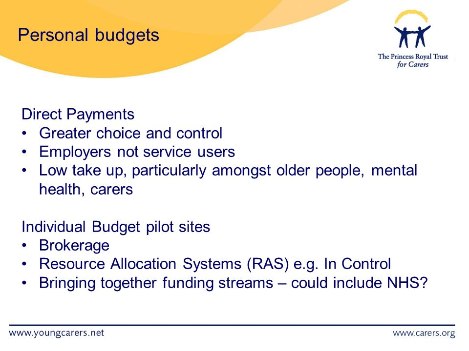 Personal budgets Direct Payments Greater choice and control Employers not service users Low take up, particularly amongst older people, mental health, carers Individual Budget pilot sites Brokerage Resource Allocation Systems (RAS) e.g.