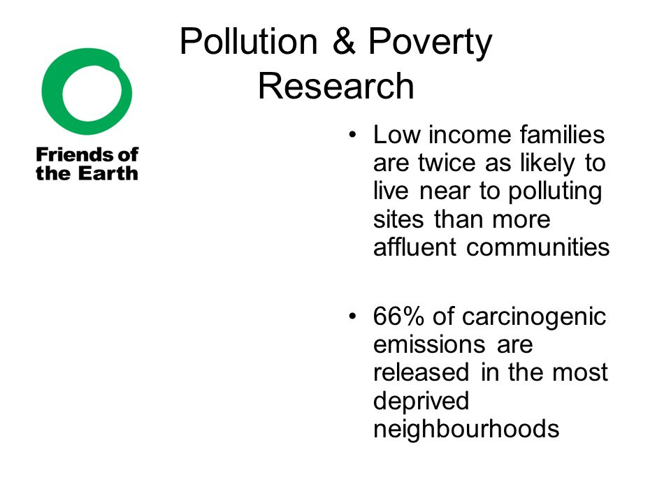 Pollution & Poverty Research Low income families are twice as likely to live near to polluting sites than more affluent communities 66% of carcinogenic emissions are released in the most deprived neighbourhoods