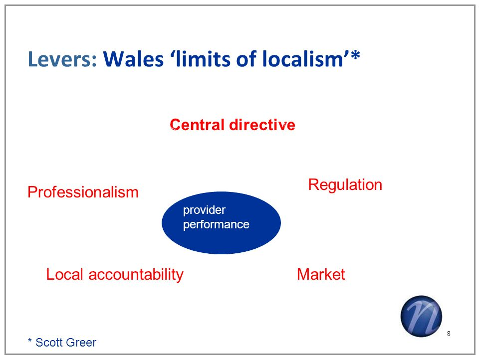 Levers: Wales limits of localism* 8 provider performance Central directive Regulation MarketLocal accountability Professionalism * Scott Greer