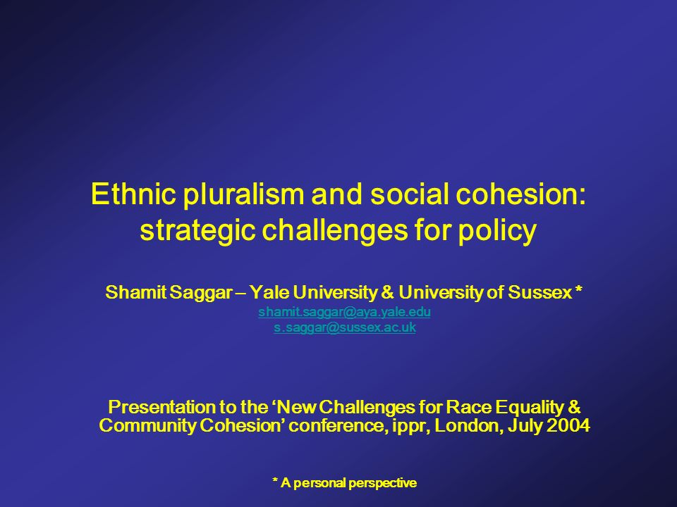 Ethnic pluralism and social cohesion: strategic challenges for policy Shamit Saggar – Yale University & University of Sussex * shamit.saggar@aya.yale.edu s.saggar@sussex.ac.uk Presentation to the New Challenges for Race Equality & Community Cohesion conference, ippr, London, July 2004 * A personal perspective