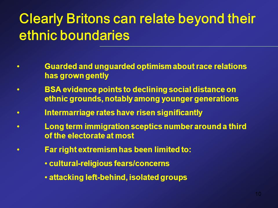 10 Clearly Britons can relate beyond their ethnic boundaries Guarded and unguarded optimism about race relations has grown gently BSA evidence points to declining social distance on ethnic grounds, notably among younger generations Intermarriage rates have risen significantly Long term immigration sceptics number around a third of the electorate at most Far right extremism has been limited to: cultural-religious fears/concerns attacking left-behind, isolated groups