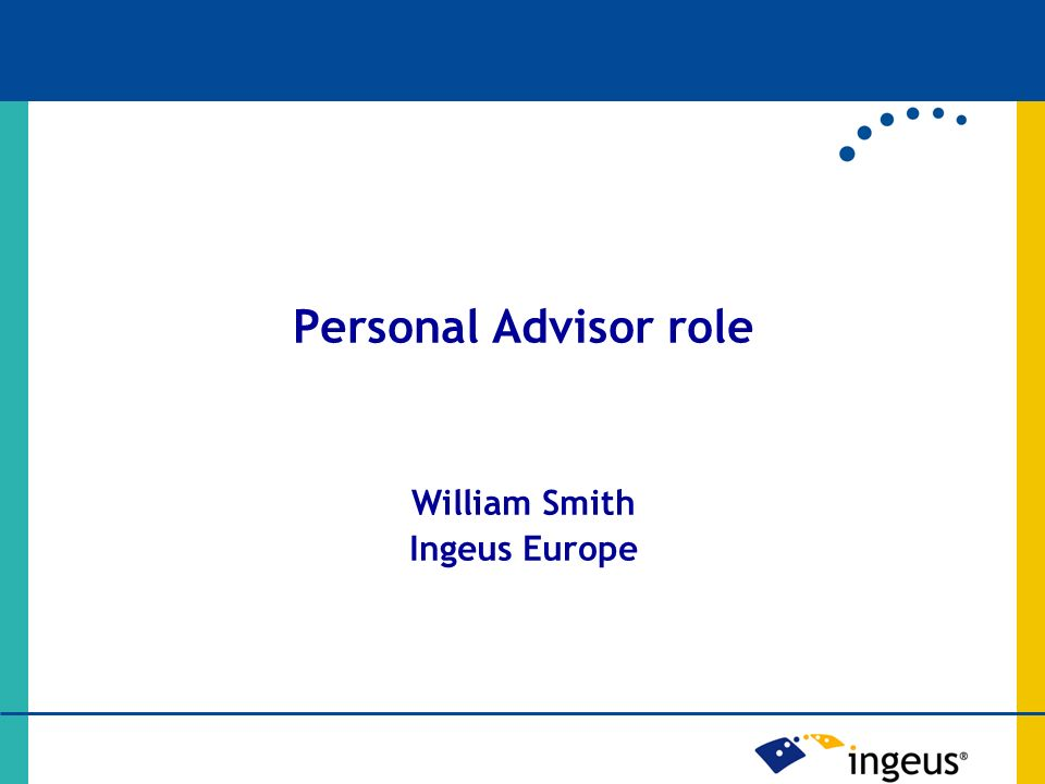 Personal Advisor role William Smith Ingeus Europe