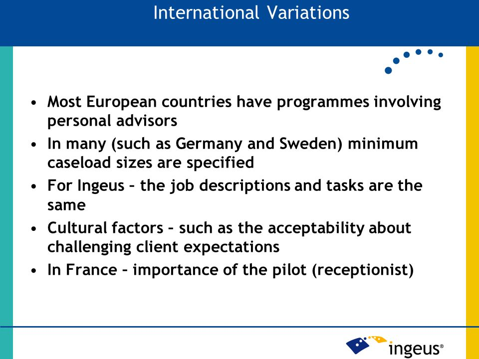 Most European countries have programmes involving personal advisors In many (such as Germany and Sweden) minimum caseload sizes are specified For Ingeus – the job descriptions and tasks are the same Cultural factors – such as the acceptability about challenging client expectations In France – importance of the pilot (receptionist) International Variations