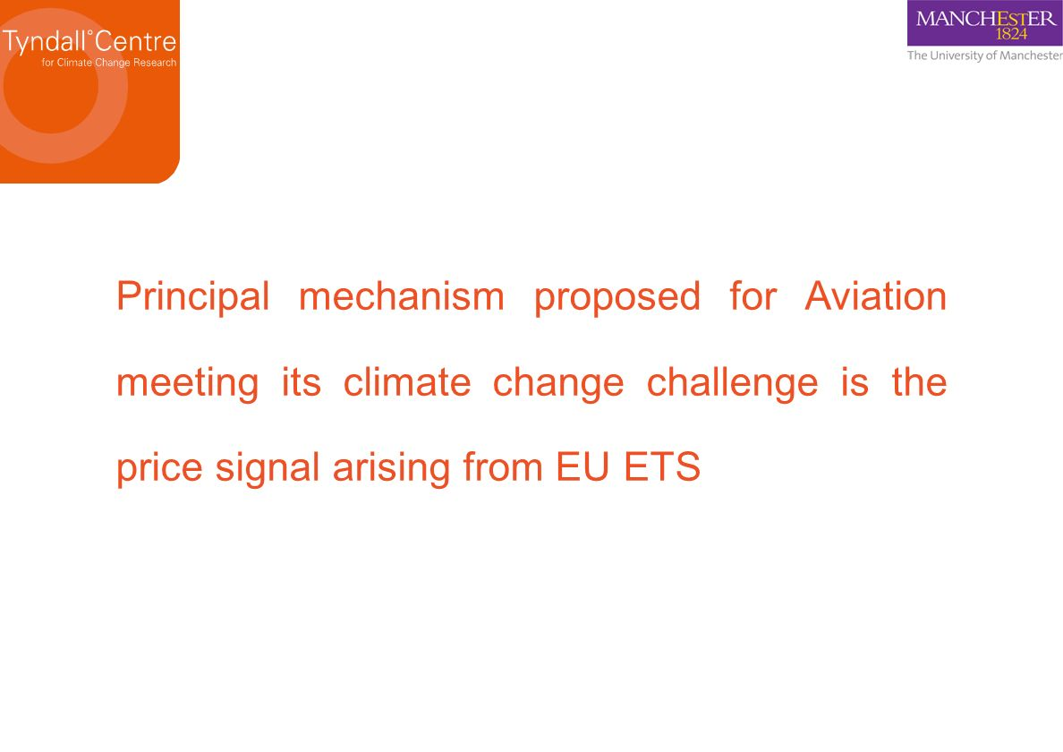 Principal mechanism proposed for Aviation meeting its climate change challenge is the price signal arising from EU ETS