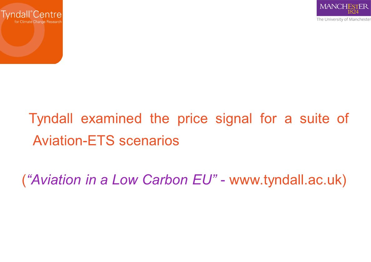 Tyndall examined the price signal for a suite of Aviation-ETS scenarios (Aviation in a Low Carbon EU - www.tyndall.ac.uk)