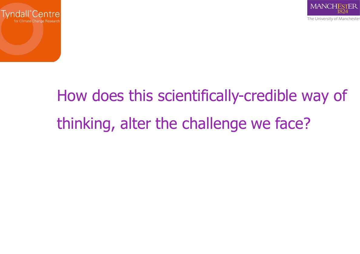 How does this scientifically-credible way of thinking, alter the challenge we face