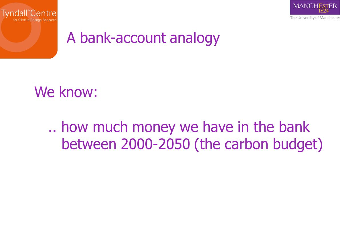 A bank-account analogy We know:..