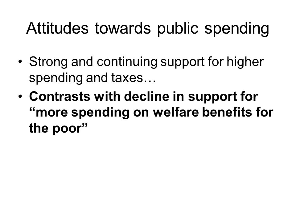 Attitudes towards public spending Strong and continuing support for higher spending and taxes… Contrasts with decline in support for more spending on welfare benefits for the poor