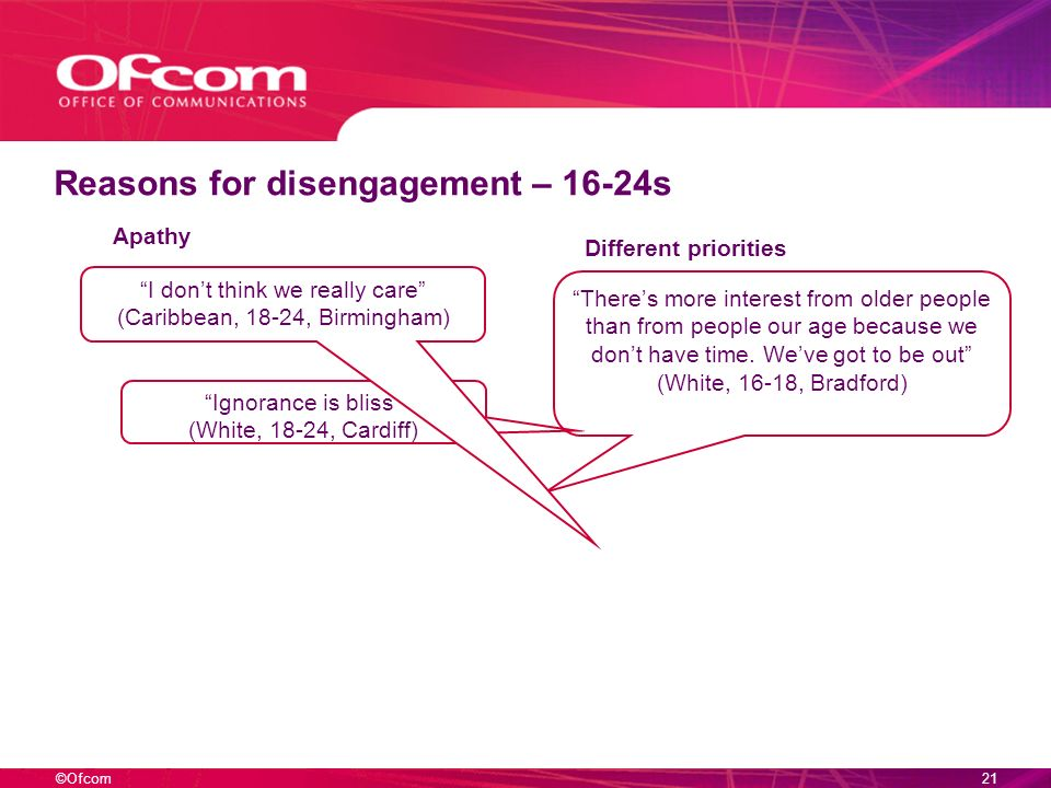 ©Ofcom20 Reasons for disengagement – 16-24s Ignorance is bliss (White, 18-24, Cardiff) I dont think we really care (Caribbean, 18-24, Birmingham) Apathy