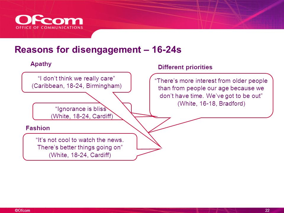 ©Ofcom21 Reasons for disengagement – 16-24s Theres more interest from older people than from people our age because we dont have time.