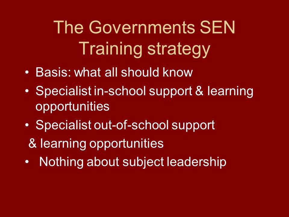 The Governments SEN Training strategy Basis: what all should know Specialist in-school support & learning opportunities Specialist out-of-school support & learning opportunities Nothing about subject leadership
