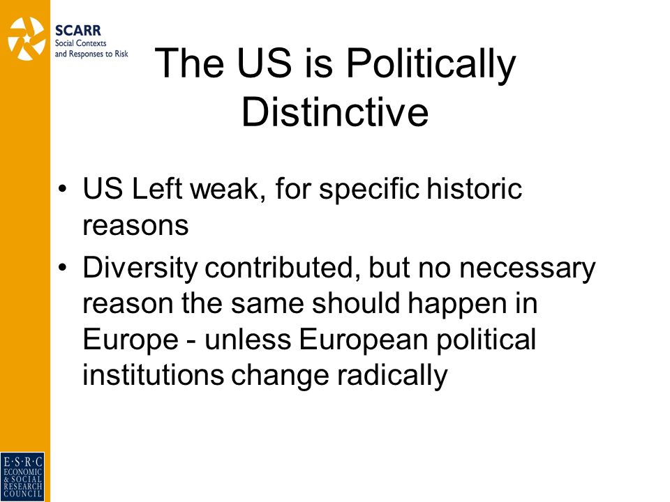 The US is Politically Distinctive US Left weak, for specific historic reasons Diversity contributed, but no necessary reason the same should happen in Europe - unless European political institutions change radically