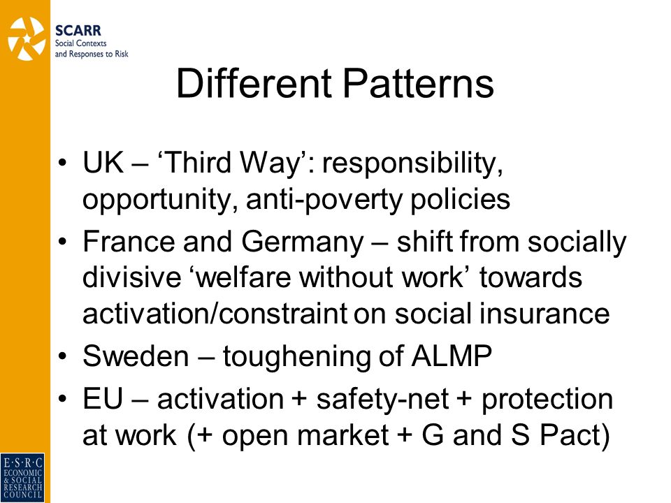 Different Patterns UK – Third Way: responsibility, opportunity, anti-poverty policies France and Germany – shift from socially divisive welfare without work towards activation/constraint on social insurance Sweden – toughening of ALMP EU – activation + safety-net + protection at work (+ open market + G and S Pact)