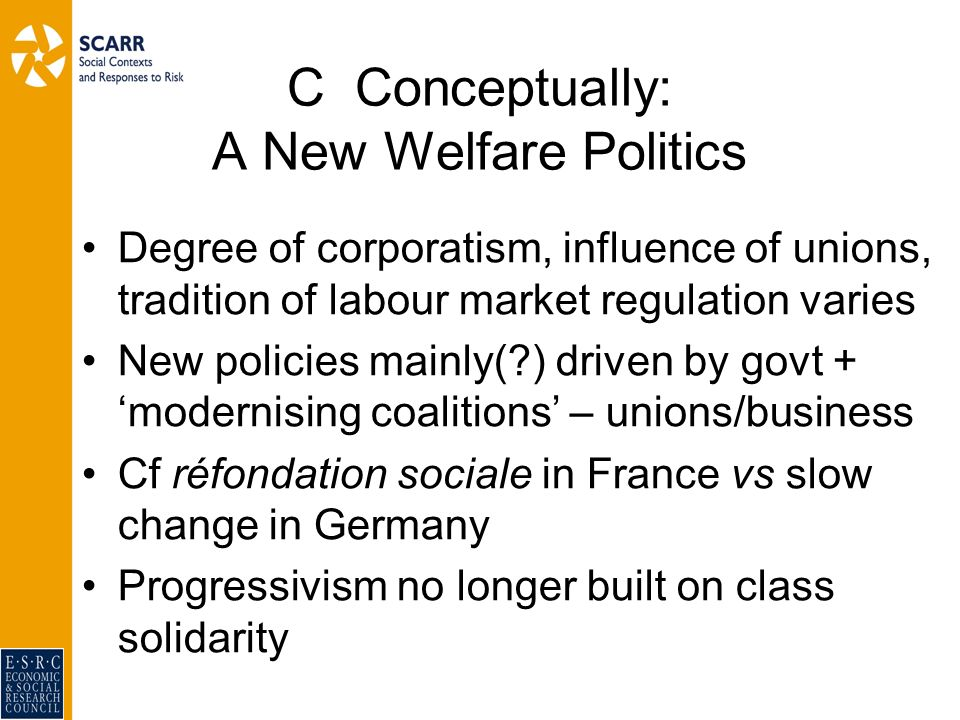 C Conceptually: A New Welfare Politics Degree of corporatism, influence of unions, tradition of labour market regulation varies New policies mainly( ) driven by govt + modernising coalitions – unions/business Cf réfondation sociale in France vs slow change in Germany Progressivism no longer built on class solidarity