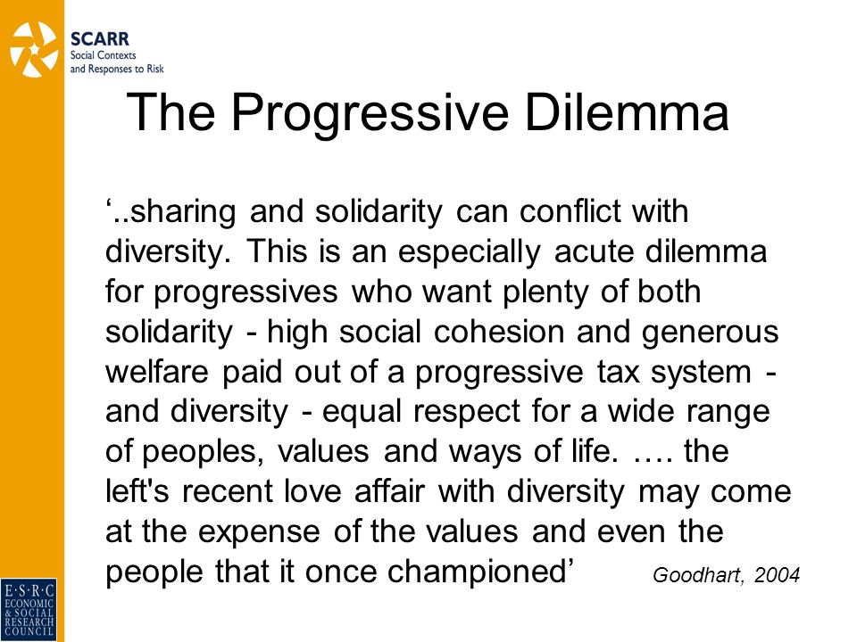 The Progressive Dilemma..sharing and solidarity can conflict with diversity.