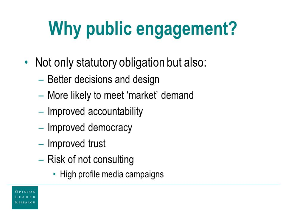 Why public engagement.