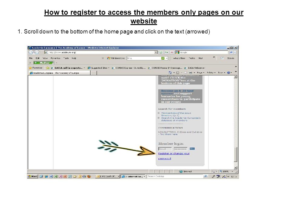 How to register to access the members only pages on our website 1.