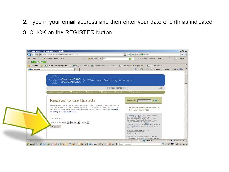 2. Type in your  address and then enter your date of birth as indicated 3.